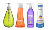 Method soap products; left to right in green, orange, purple, white and blue bottles