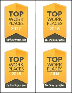"Named a ""Top Workplace"" by The Washington Post"