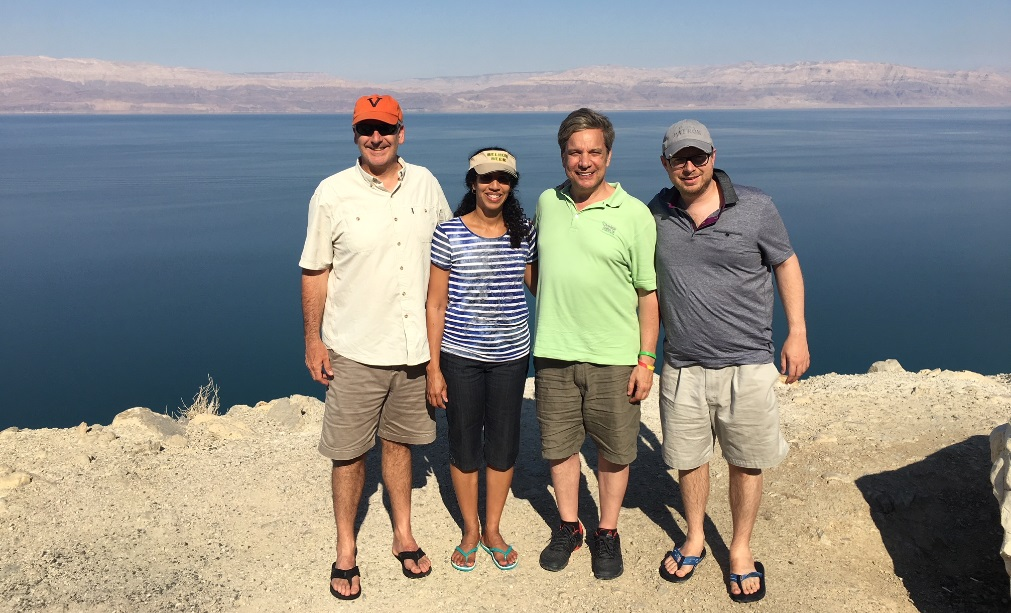 Rob is pictured with his firm colleagues by the Dead Sea in Israel.
