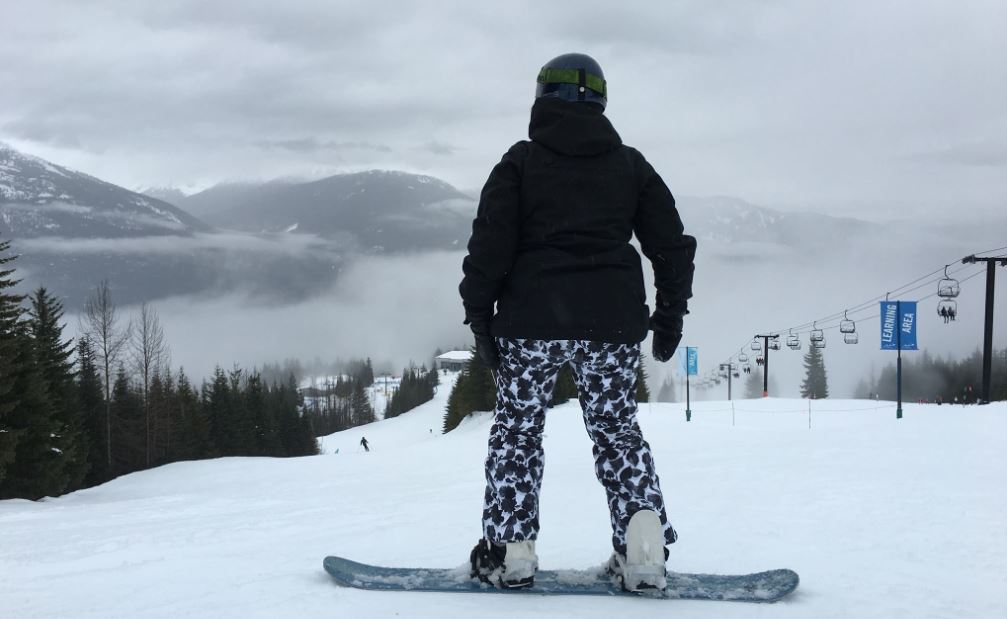 Deborah Sterling is pictured taking a moment while snowboarding to enjoy the view at Whistler Blackcomb in British Columbia, Canada.