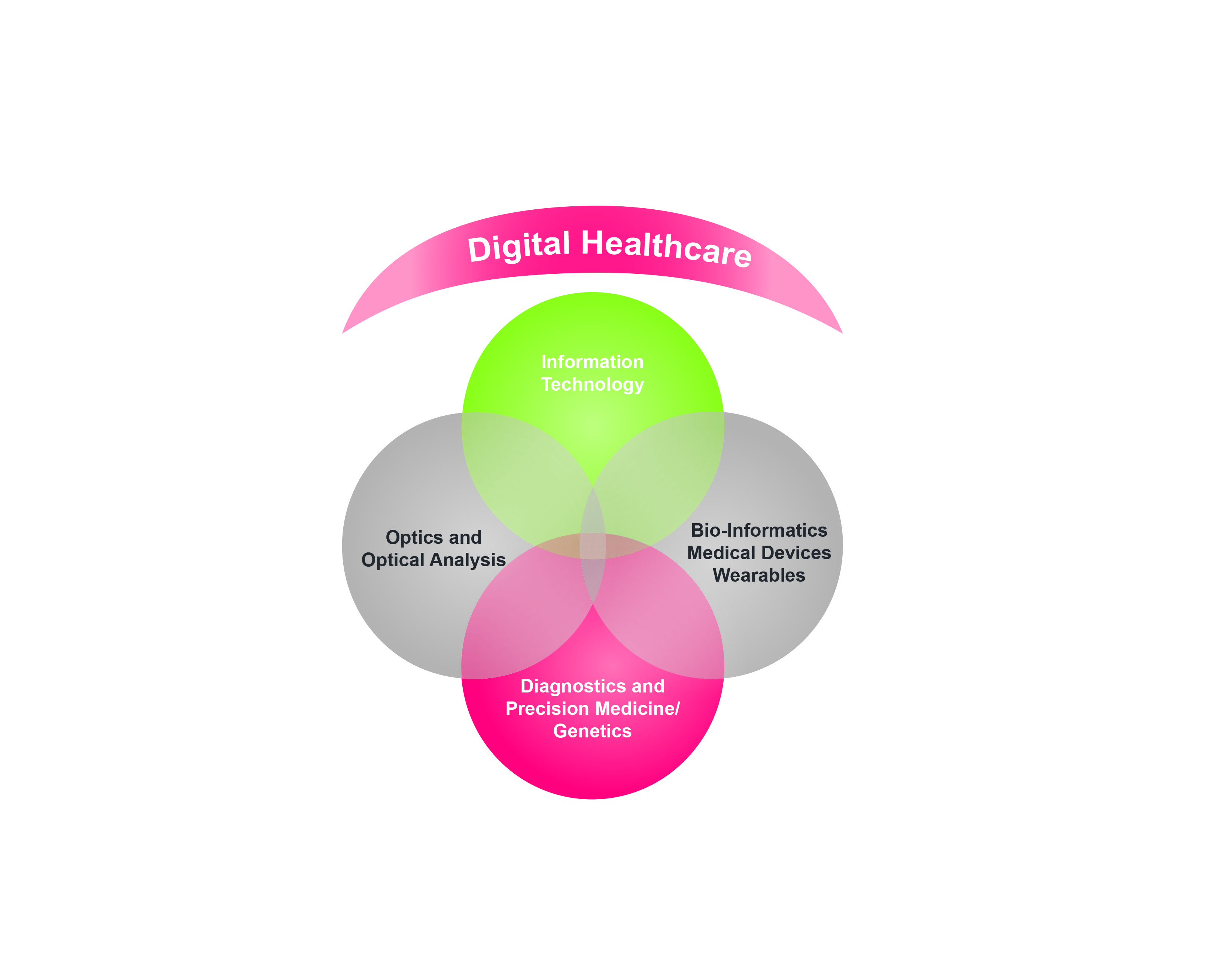Digital Healthcare includes Information Technology, Optics, Bio-Informatics, and Personalized Medicine