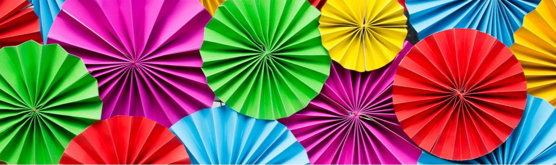 multicolored paper umbrellas